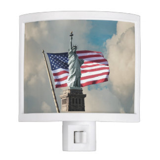 Statue Of Liberty And Flag Nite Light