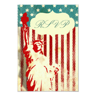 """Statue of Liberty and Flag Wedding RSVP Cards 3.5"""" X 5"""" Invitation Card"""
