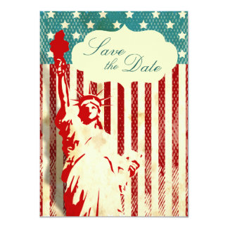 """Statue of Liberty and Flag Wedding Save the Date 4.5"""" X 6.25"""" Invitation Card"""
