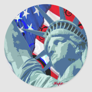 Statue of Liberty and Patriotic American Flag Classic Round Sticker