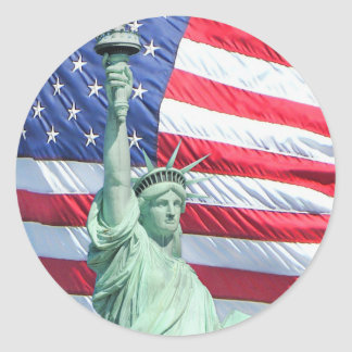 Statue of Liberty and U.S. Flag Classic Round Sticker