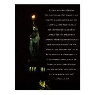 Statue of Liberty At Night/Emma Lazarus Poem Postcard