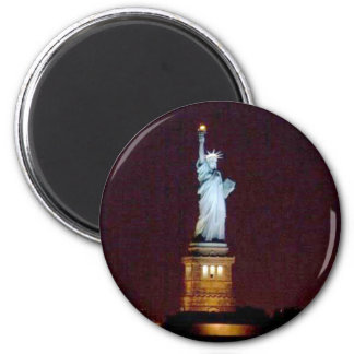 Statue of Liberty at Night - Round Magnet