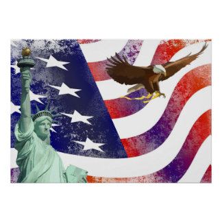 Statue of Liberty-bald eagle Poster