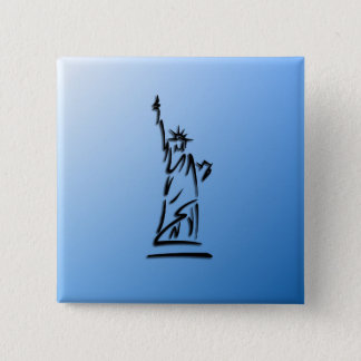 Statue of Liberty Blue 2 Inch Square Button