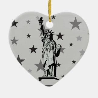 Statue of Liberty Ceramic Heart Ornament