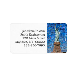 statue of liberty collage - statue of liberty art label