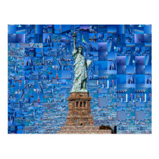 statue of liberty collage - statue of liberty art postcard