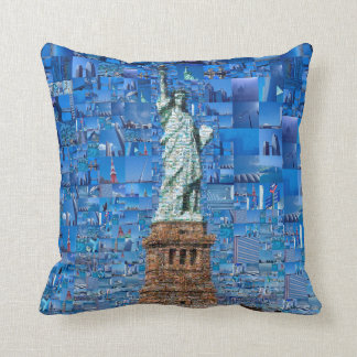 statue of liberty collage - statue of liberty art throw pillow
