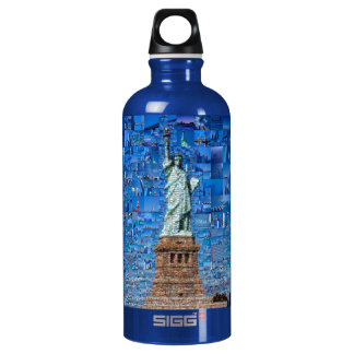 statue of liberty collage - statue of liberty art water bottle