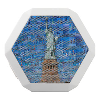 statue of liberty collage - statue of liberty art white bluetooth speaker