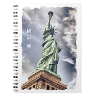 Statue of Liberty custom monogram notebook