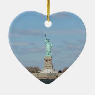 Statue Of Liberty Ellis Island Ceramic Heart Ornament