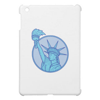 Statue of Liberty Flaming Torch Circle Mono Line Cover For The iPad Mini