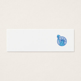 Statue of Liberty Flaming Torch Circle Mono Line Mini Business Card