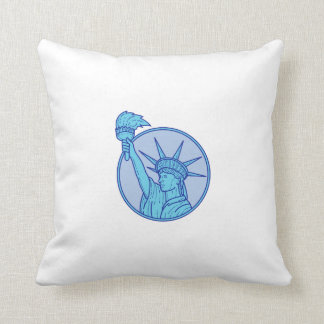 Statue of Liberty Flaming Torch Circle Mono Line Throw Pillow
