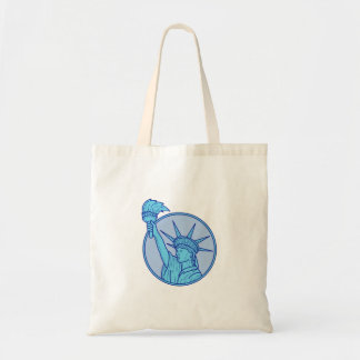 Statue of Liberty Flaming Torch Circle Mono Line Tote Bag
