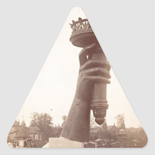 Statue of Liberty hand and torch large 1886 Triangle Stickers