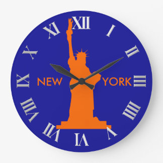 Statue of Liberty in Orange and Blue Cool New York Large Clock