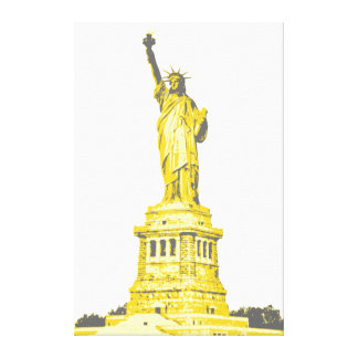 Statue of Liberty in shades of yellow and gray Canvas Print