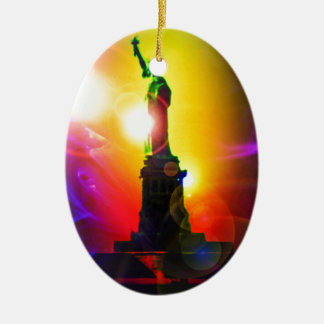 Statue of Liberty New York Ceramic Oval Ornament