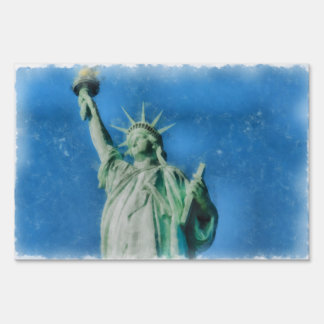 Statue of liberty, New York watercolors painting Sign