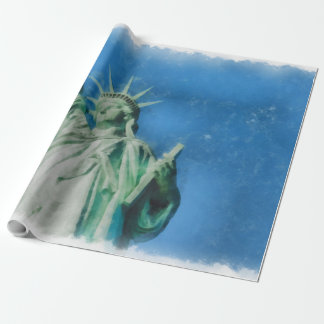 Statue of liberty, New York watercolors painting Wrapping Paper