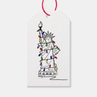 Statue of Liberty NYC Holiday Lights Christmas Tag