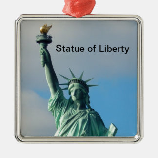 Statue of Liberty NYC Silver-Colored Square Ornament