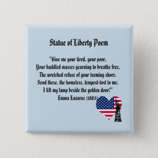 Statue of Liberty Poem 2 Inch Square Button