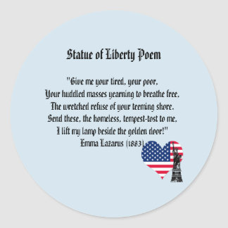 Statue of Liberty Poem Classic Round Sticker