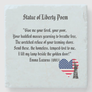 Statue of Liberty Poem Stone Coaster
