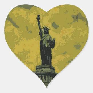 Statue of Liberty Pop Art Heart Sticker