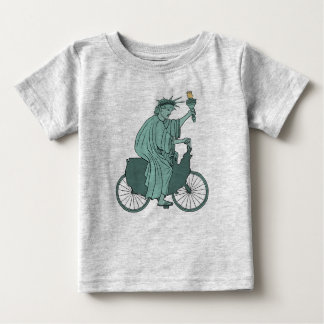 Statue Of Liberty Riding USA Bike Baby T-Shirt