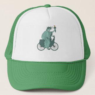 Statue Of Liberty Riding USA Bike Trucker Hat