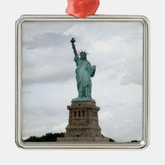 Statue of Liberty Silver-Colored Square Ornament