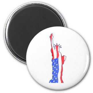 statue of liberty, stars stripes, red white blue magnet