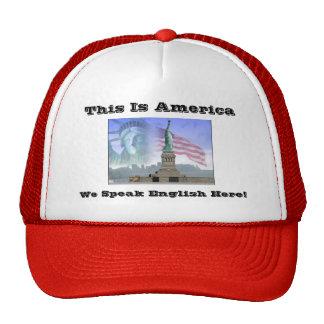 Statue-of-Liberty, This Is America, We Speak En... Trucker Hat