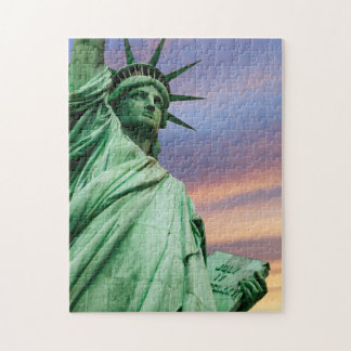 statue of liberty under colorful sky jigsaw puzzle