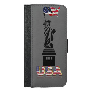 Statue of Liberty undulating flag iPhone 6/6s Plus Wallet Case