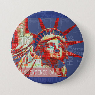 Statue of Liberty with 4th of July Word Cloud 3 Inch Round Button