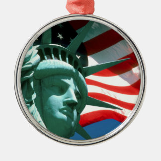 STATUE OF LIBERTY WITH AMERICAN FLAG Silver-Colored ROUND ORNAMENT