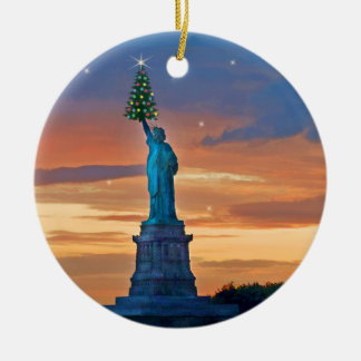 Statue of Liberty with Christmas Tree Round Ceramic Ornament