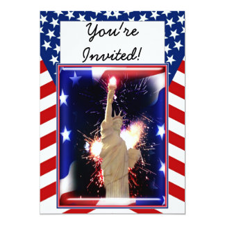 """Statue of Liberty with Fireworks for 4th of July 5"""" X 7"""" Invitation Card"""