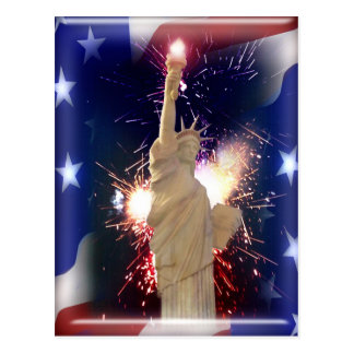 Statue of Liberty with Fireworks for 4th of July Postcard