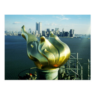 Statue of Liberty's Flame and Manhattan Skyline Postcard