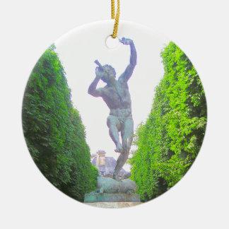 Statue of Pan, Luxembourg Garden, Paris France Round Ceramic Ornament