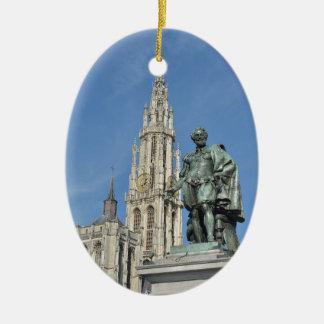 Statue of  Peter Paul Rubens in Antwerp, Belgium Ceramic Ornament