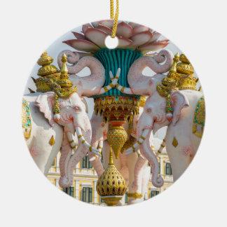 Statue of pink elephants Bangkok Thailand Round Ceramic Ornament
