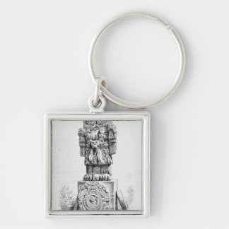 Statue of the Goddess Coatlicue Silver-Colored Square Keychain